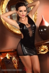 Beauty Night Wetlook-Minikleid Yvette schwarz